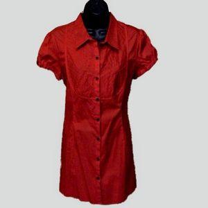 F.A.N.G. Blouse size XL Long Red Cotton Spandex